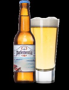 Biere Blanche Parlementia dans un verre et dans sa bouteille